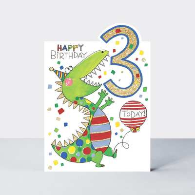 3 Today Dinosaur Birthday Card