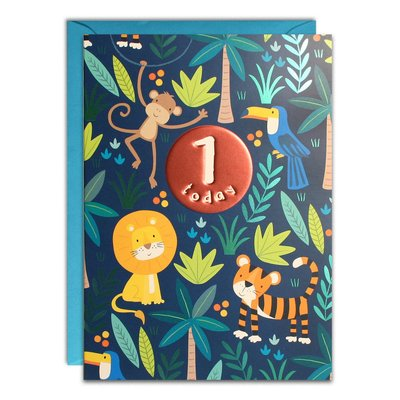 Birthday Card 1 Blue Jungle