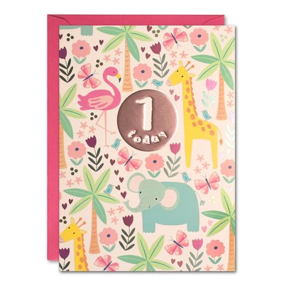 Birthday Card 1 Pink Jungle (JEC HC3138)