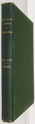 The New Zealand Journal of Agriculture Vol. XXV Jult to December 1922