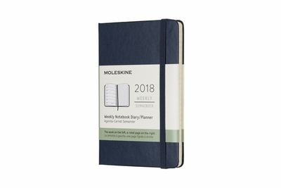 Blue Pocket Weekly Notebook Hardcover Moleskine 2018 Diary