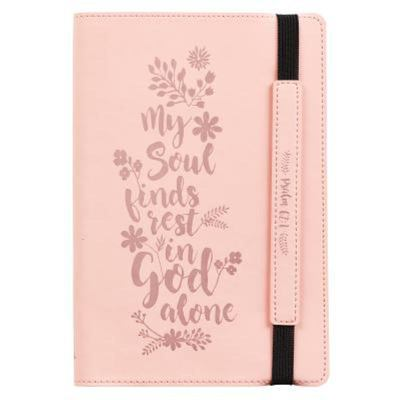 Journals Lux-Leather Bullet Elastic Closure My Soul Finds Rest Pink