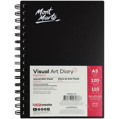 Large mont marte signature visual art diary a5 120pg msb0004 v04 f2