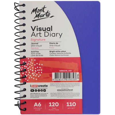 Large mont marte signature visual art diary a6 coloured cover purple msb0078 v02 f2