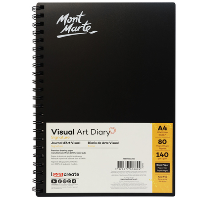 Large mont marte signature visual art diary black 140gsm a4 80pg msb0022 v04 f2
