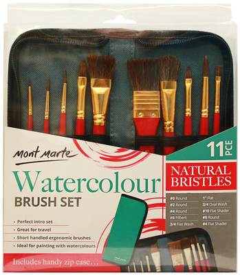 BMHS0032 MM Brush Set in Wallet 11pc - Watercolour