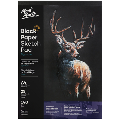 Large mont marte signature black paper sketch pad 25 sheet 140gsm a4 msb0060 v02 f2