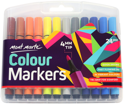 MMPM0006 MM Colour Markers 24pc Tri Grip in Case