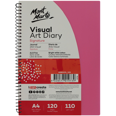 Large mont marte signature visual art diary a4 coloured cover pink msb0076 v02 f.