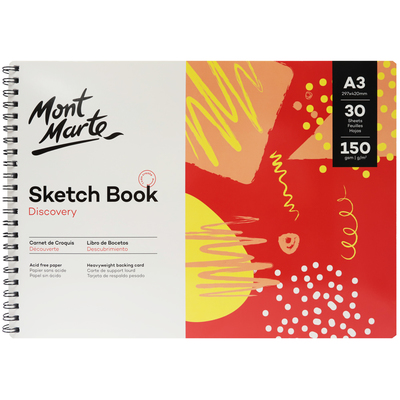 Large mont marte discovery sketch book 150gsm a3 msb0118 v01 f