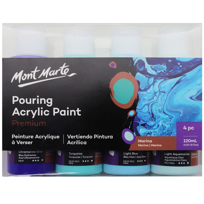 Large mont marte premium acrylic pouring paint 4pc 120ml set marina pmpp4001 v01 f b2
