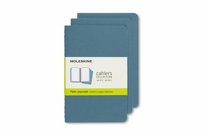 Moleskine Plain  Cahier  Set of 3 Brisk  Blue Pocket Notebook