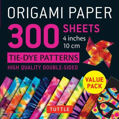 Origami Paper 300 Sheets - Tie-Dye Patterns 4 Inches 10 Cm