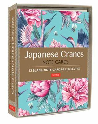 Japanese Cranes Note Cards - 12 Blank Note Cards and Envelopes (6 X 4 Inch Cards in a Box)