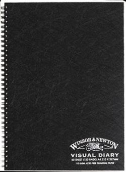 A3 Visual Art Diary 80 Black Pages  -Winsor & Newton Black Poly Cover - GNS