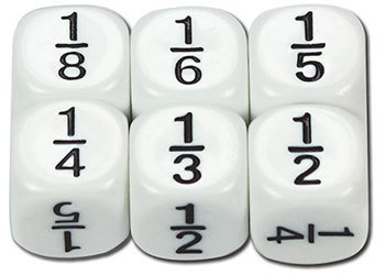 Dice 6 sided Fractions 16mm - TFC10243 - MTA