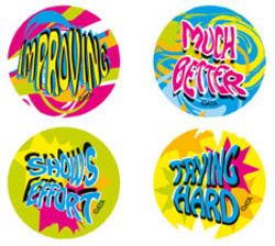 FS214 Fluro Encouragement Stickers Pack of 96 - ATA