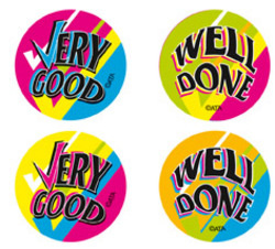 FS211 Merit Stickers Fluoro Very Good Well Done Pack of 96 - ATA