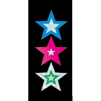 FS239 Silver Stars Foil Stickers Silver and Colour Stars Pack of 105 - ATA