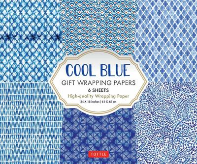 Cool Blue Gift Wrapping Papers - 6 Sheets of High-Quality 24 X 18 Inch Wrapping Paper