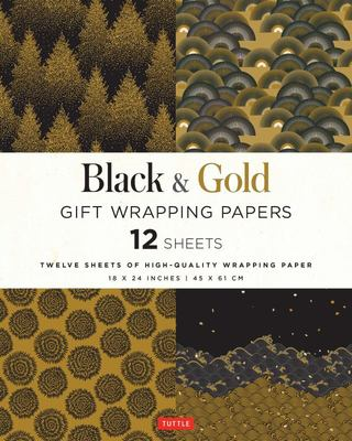 Black and Gold Gift Wrapping Papers - 12 Sheets of High-Quality 18 X 24 Inch Wrapping Paper