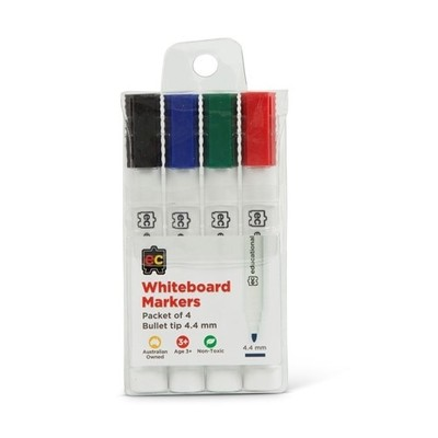 Whiteboard Markers EC Thick Bullet 4.4mm Pack of 4 - WM444 - GNS