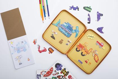 Puzzle and Draw Magnetic Kit - Diggersaurs