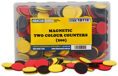 Magnetic Two Colour Counters Box of 200 - Abacus