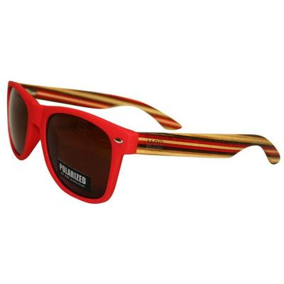 50/50 - Red Frame/Striped Arms - Moana Rd Sunnies #462