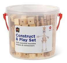 Construct & Play Set 300 assorted wooden shapes & connectors Age 3+ CPN300 - ED