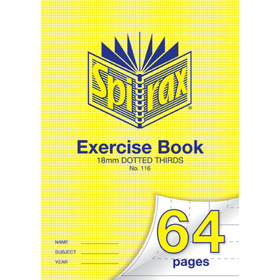 18mm Dotted Thirds Exercise Book Spirax 64 pages - gns