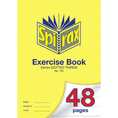 Exercise Book 24mm Dotted Thirds A4 48 page Exercise Book Spirax No. 105 - 56105 - GNS