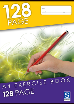 8mm Ruled A4 128 page Exercise Book Sovereign - GNS