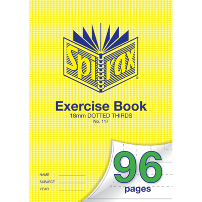 18mm Dotted Thirds A4 96 page Exercise Book Spirax No. 117 - 56117 - GNS