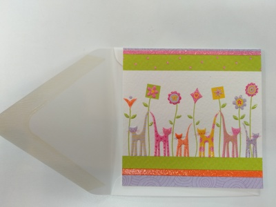 Small Cat and Flower Card