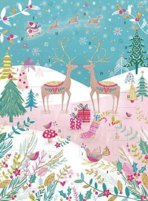 Reindeer and gifts in snow scene - Advent calendar