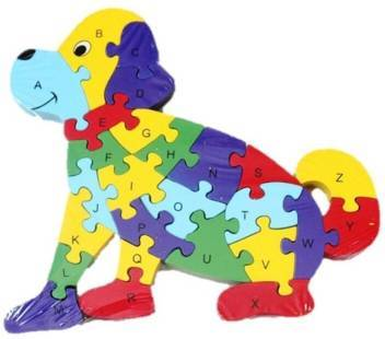 Dog Puzzle Alphabet One Side - Numbers Opposite - 26 wooden pieces - G Star