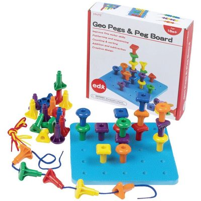 Geo Pegs and Peg Board (36 pegs, 1 base, 3 laces) Ages 18 months + - 1B320 - Abacus