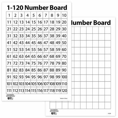 Number Board Single 1-120 - other side blank grid - Edvantage
