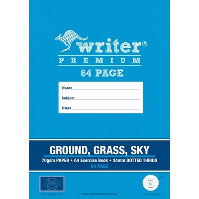 24mm Dotted Thirds Ground, Grass, Sky A4 64 page Exercise Book  - 20766 - GNS