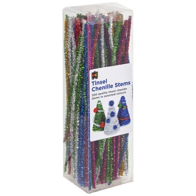 Tinsel Chenille Stems 200 pack assorted colours 30cm CST30200 - ED