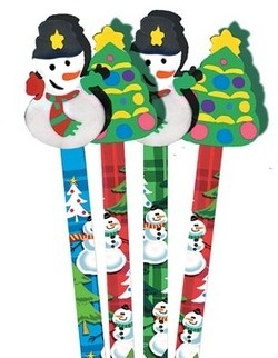 PT1004 Christmas Pencil with Snowman or Christmas Tree Eraser Topper - ATA