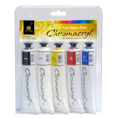 Chromacryl Acrylic Paint Pack of 5 x 75ml Tubes Assorted Colours - GNS