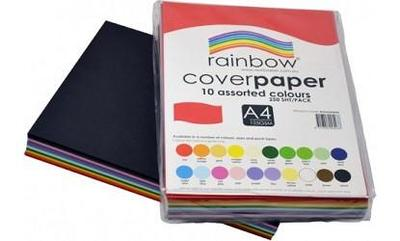 A4 Rainbow Cover Copy Paper Assorted colours 125gsm Pack of 250 sheets - 43757 - GNS