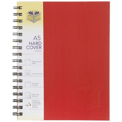 Notebook Hard Cover Ruled A5 200 Pages Red Spirax 225 x 175mm - 56511R - GNS