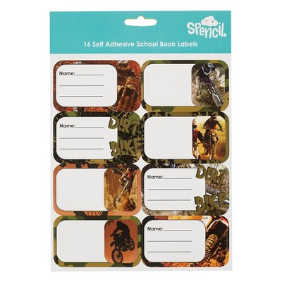 Dirt Bike Name and Subject Assorted Labels Pack of 16
