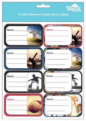 Sports Collage Name and Subject Assorted Labels Pack of 16 - GNS