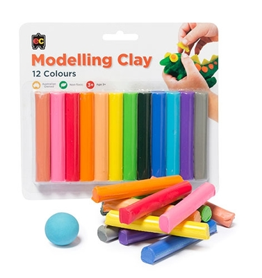 Clay Modelling Rainbow Pack of 12 Assorted Colours 180g Non Toxic - RMB12 - GNS