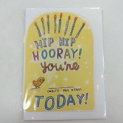 Hip Hip Hooray Age card