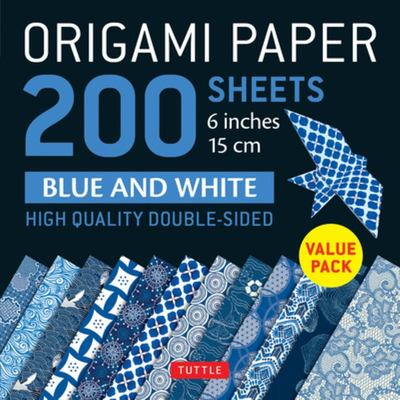 Origami Paper 200 sheets Blue and White Patterns